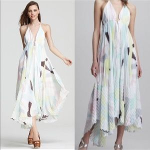 Alice + Olivia Adalyn Pleated Maxi Halter Dress